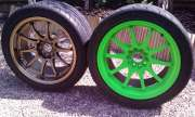 Flocked Volk's Wheels in green